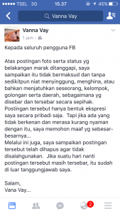 Postingan Vanna Vay atas postingan yang menuai komentar miring para Netizen