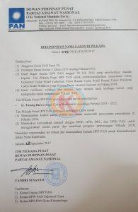 Ini Foto dan Surat Rekomendasi DPP PAN untuk Tatong Berita Politik