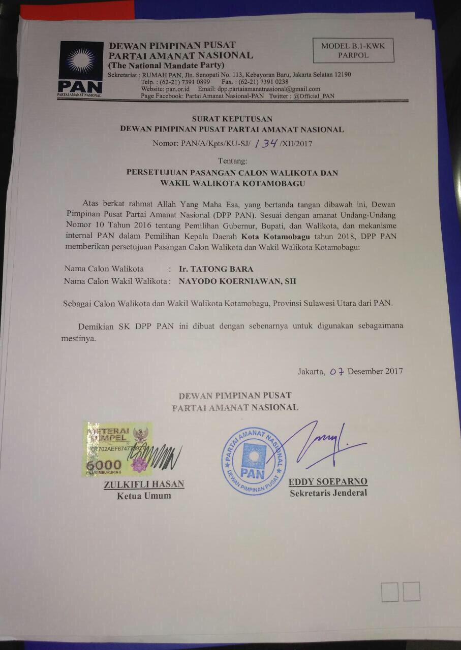 Politik  Tatong-Nayodo SK Pilakada Kotamobagu 2018 DPP PAN