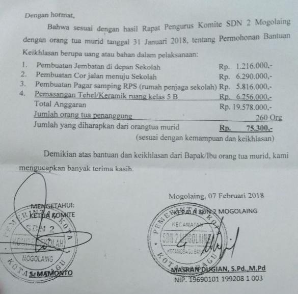 Diduga Ada Pungli di SD Negeri 2 Mogolaing, Modusnya Uang Komite Berita Daerah Berita Kotamobagu