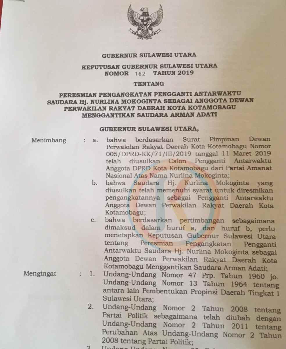 PAW, Nurlina Manoppo Mokoginta Kantongi SK Gubernur Sulut Berita Politik
